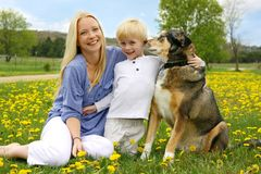 Happy Mother, Young Child, and Dog in Meadow Stock Images