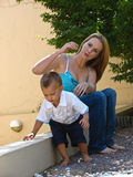 Happy mother with young son Stock Photos