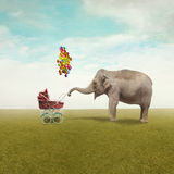 Happy motherhood. Funny illustration with a beautiful elephant leading walking her child in a wheelchair royalty free illustration