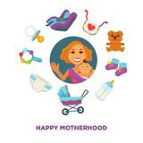 Motherhood baby care happy mother and newborn child accessory vector flat design Stock Images