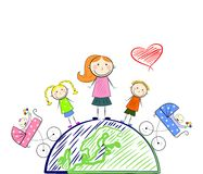 The happy motherhood. Picture of happy mother with children in the style of children drawings Royalty Free Stock Photos