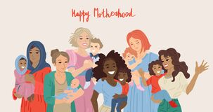 Free Happy Motherhood. Various Group Of Moms Carrying Their Babies. Vector Illustration Stock Photo - 175728320