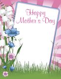 Happy Mothers Day. Vector illustration background with a frame of Happy Mothers Day with flowers Stock Images