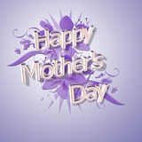 Happy mothers day 14th March. Happy mothers day in 3D, on gradient with foliage decoration Royalty Free Stock Photo