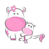 Happy mothers day. Moxy Patty the cow mother, vector Stock Images
