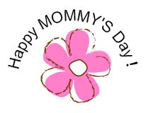 Happy mothers day. Cute pink flower with a happy mothers day text around it. vector format available stock illustration