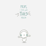 Happy Mothers day. Greeting card illustration of a cheerful boy with text for mothers day Stock Photography