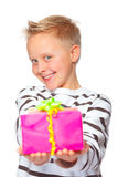 Happy mothers day. Cute boy giving a present for mothers day Stock Photos