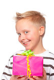 Happy mothers day. Cute boy giving a present for mothers day Stock Photography