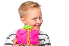 Happy mothers day. Cute boy giving a present for mothers day Stock Photo