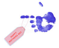 Happy mothers day. Tag from blue painted hand print Royalty Free Stock Photo