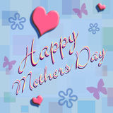 Happy Mothers Day. Written in script, on a light blue wall paper with pastel flowers, butterflies and hearts Royalty Free Stock Photography
