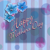 Happy Mothers Day. Written in script, on a light blue wall paper with circles and butterflies.  Blue petunia's in the upper left corner Stock Photos