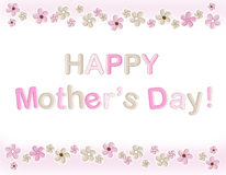 Happy mothers day. Mother's day greeting card with cute pink flowers Royalty Free Stock Photos