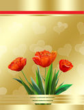 Tulip Gold background. Mothers day, abstract background, tulip. Illustration. Red tulips on a gold decorate background with heart pattern. For the creating your vector illustration