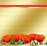 Happy Mothers day, abstract background, tulip, greeting card. Mothers day, abstract background, tulip. Illustration. Red tulips on a gold decorate background in stock illustration