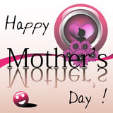 Happy Mothers Day. Abstract colorful illustration with a woman shape inside of a pink button with flowers and the text Happy Mothers Day written with black stock illustration