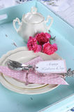 Happy Mothers Day aqua blue breakfast morning tea vintage retro shabby chic tray setting - vertical close up Royalty Free Stock Photo