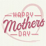 Happy Mothers Day Art Card with Heart Pink. Happy Mothers Day Art Card with Heart shades of Pink on card stock cream background art deco royalty free illustration