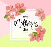 Happy mothers day background with beautiful flowers. Greeting card with hand drawn lettering. Vector illustration template, banner Royalty Free Stock Photography