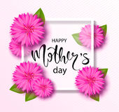 Happy mothers day background with beautiful flowers. Greeting card with hand drawn lettering. Vector illustration template, banner Royalty Free Stock Photos