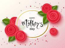 Happy mothers day background with beautiful flowers. Greeting card with hand drawn lettering. Vector illustration template, banner Royalty Free Stock Image