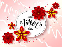 Happy mothers day background with beautiful flowers. Greeting card with hand drawn lettering. Vector illustration template, banner Stock Photography