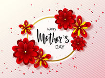 Happy mothers day background with beautiful flowers. Greeting card with hand drawn lettering. Vector illustration template, banner Stock Photo