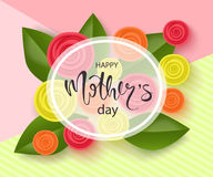 Happy mothers day background with beautiful flowers. Greeting card with hand drawn lettering. Vector illustration Stock Images