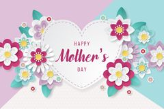 Happy Mothers Day background with beautiful paper cut flowers. Vector illustration royalty free illustration