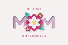Happy Mothers Day background with beautiful paper cut flowers. Vector illustration stock illustration