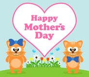 Happy Mothers day background with cat Royalty Free Stock Photography