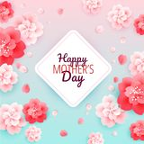 Happy Mothers Day background with flowers - vector illustration. Pink background vector illustration