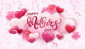 Happy Mothers day background with hearts. And flowers Royalty Free Stock Photos