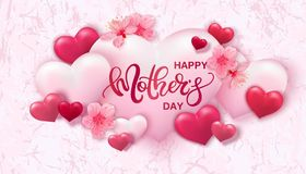 Happy Mothers day background with hearts. And flowers Stock Image