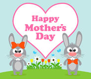 Happy Mothers day background with rabbit Stock Image