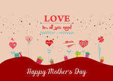 Happy mothers day background with trees heart Stock Photography