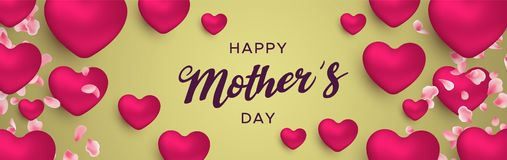 Happy Mothers Day banner of pink heart balloons. Happy Mothers Day web banner illustration for moms love. Realistic 3d pink heart balloons and flower petals with royalty free illustration