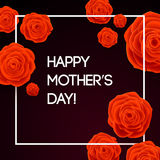 Happy Mothers Day Beautiful Blooming Red Rose Flowers on Dark Background. Greeting Card Stock Photography