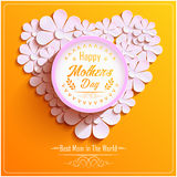 Happy Mothers Day with beautiful Bright round frame with pink 3d flowers chamomile. Illustration of Happy Mothers Day with beautiful Bright round frame with pink Stock Image