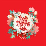 Happy Mothers Day beautiful greeting card. Bright vector illustration with colorful trend floral pattern and mothers day stock image