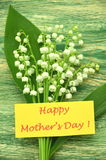 Happy mothers day and bouquet of delicate fresh lilies of the valley Royalty Free Stock Image