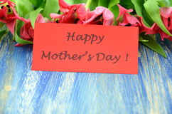Happy mothers day and bouquet of gorgeous red tulips Royalty Free Stock Photo