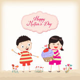 Happy mothers day boy and girl with cupcake Stock Image
