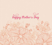 Happy mothers day bright spring with birds and  flowers retro Stock Photos