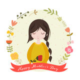 Happy mothers day card with adorable cartoon girl and flowers. Stock Images