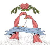 Happy mothers day card with beautiful bird and flowers Stock Image