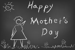 Happy mothers day card on blackboard Stock Photography