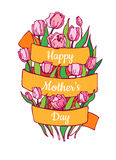 Happy Mothers day card in cartoon style. Bright spring illustrat Stock Photography