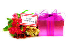 Happy Mother's Day. Happy Mothers Day Card with colorful flowers and gift box over white Royalty Free Stock Photos